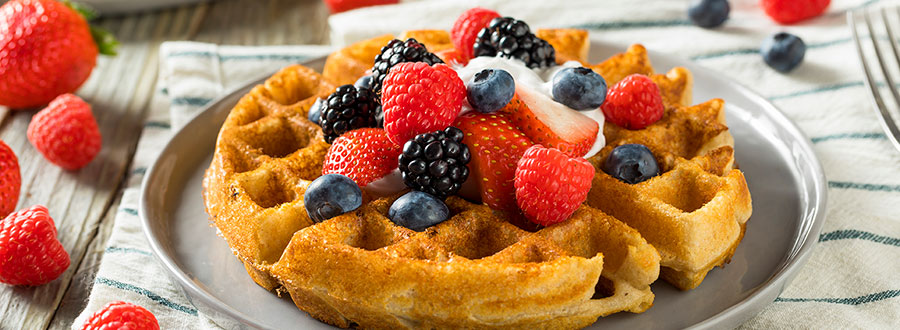 waffles with fruits on top